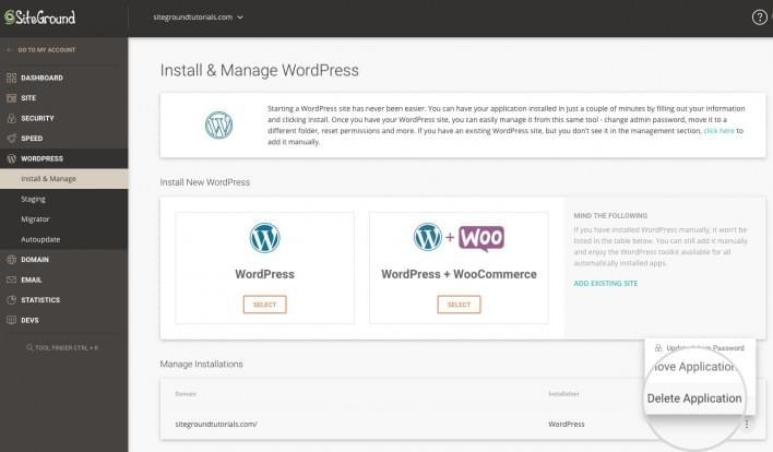 SiteGround web hosting dashboard.