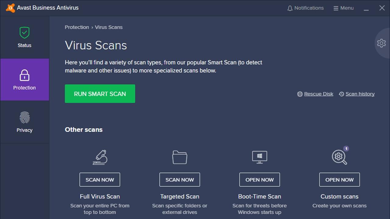 Avast Business Antivirus dasboard.