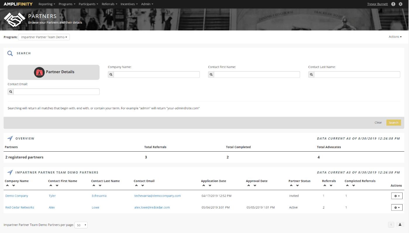 Impartner referral program dashboard.