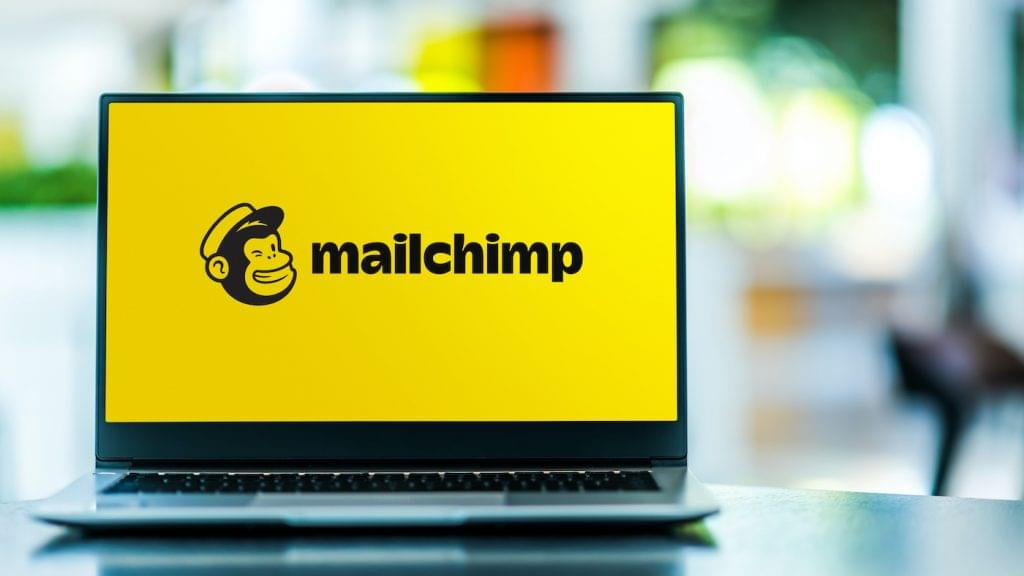 Laptop with the Mailchimp logo.