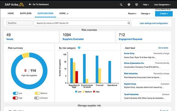 SAP Ariba supplier dashboard.
