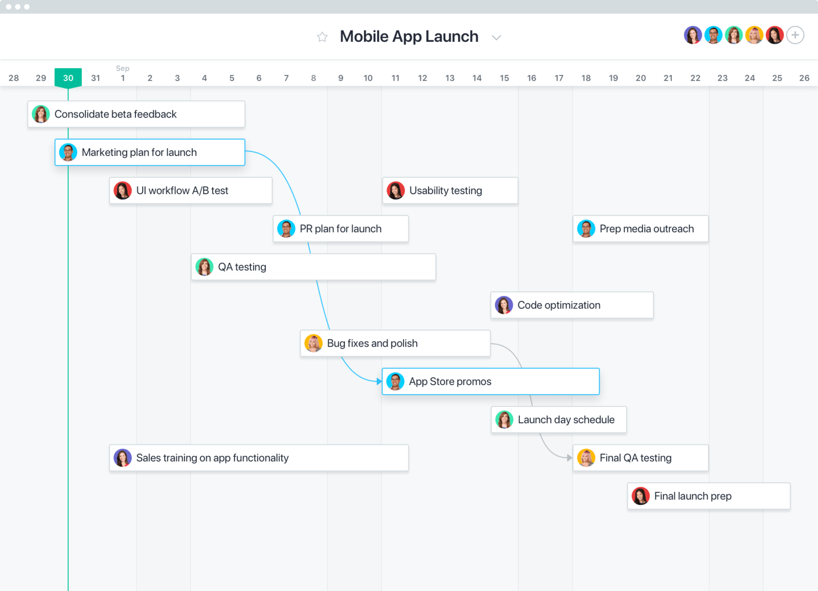 Asana project management app with task dependencies.