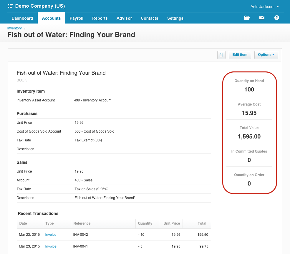 Xero accounting and inventory management software dashboard.