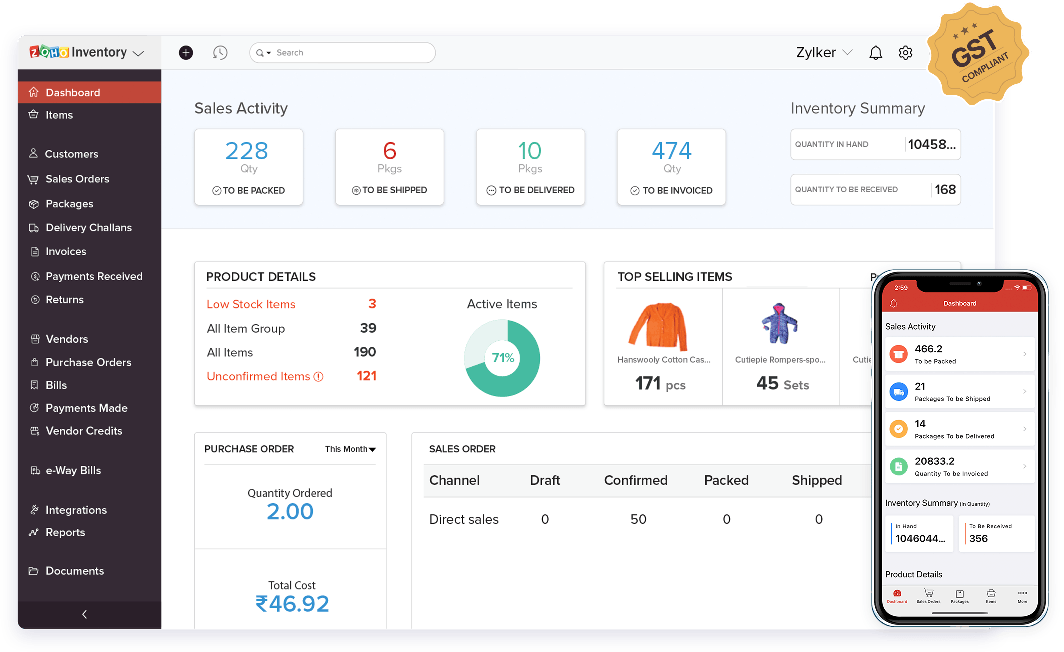 Zoho Inventory management software dashboard.